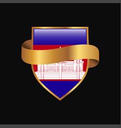 Cambodia flag golden badge design vector