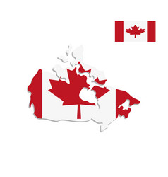 canada map and flag on a white background vector image