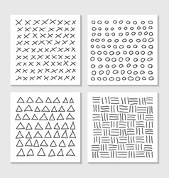 Cards with hand drawn hipster patterns monochrome vector