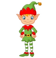 Cartoon Cute Christmas elf posing vector
