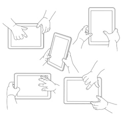 child hands holding a tablet vector image