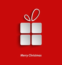 Christmas card with gift on red background vector