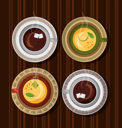 Coffee and tea time set cups on wooden table vector