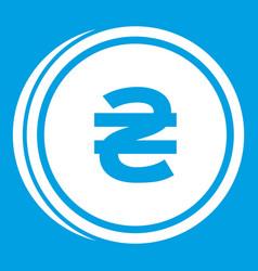 Coin hryvnia icon white vector