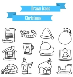 Collection holiday christmas icons set vector