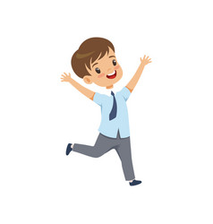 cute happy schoolboy in uniform running with vector image
