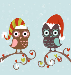 Cute winter Christmas card of owls vector