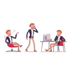 dandy office scenes different situations vector image