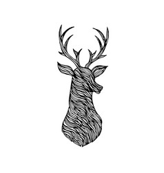 Doodle deer silhouette vector