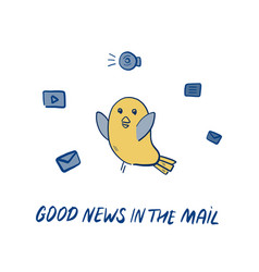 dove brings good news hand-drawn doodle with vector image