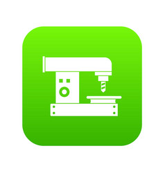Drilling machine icon digital green vector