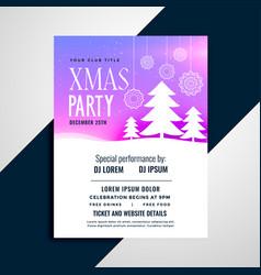 elegant pchristmas tree party flyer design vector image