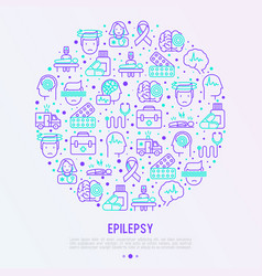 Epilepsy concept in circle with thin line icons vector