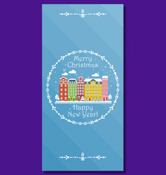 european winter city on greeting card for vector image