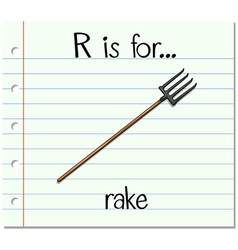 Flashcard alphabet R is for rake vector
