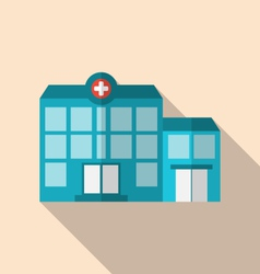 Flat icon of hospital building with long shadow vector