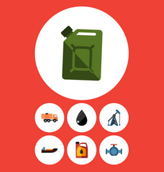 flat icon oil set of flange jerrycan rig and vector image