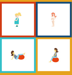 flat icon pregnant set of fitness pregnant woman vector image