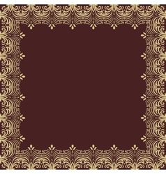 Floral frame abstract golden ornament vector