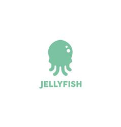 Funny squid jellyfish octopus cartoon logo vector