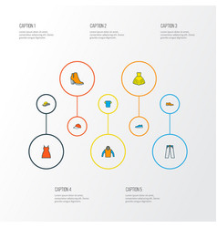 garment icons colored line set with hoodie blouse vector image