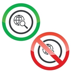 Global search permission signs vector image