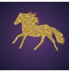 Golden shiny and glittering galloping horse vector
