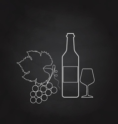 Grape wine bottle and glass painted on the vector image