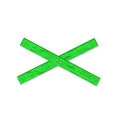 Green wooden barrier in cross shape vector