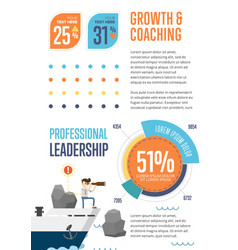 Growth and coaching banner with pie chart vector