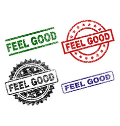 Grunge textured feel good seal stamps vector