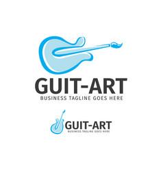 Guitar and art logo design vector