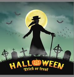 halloween plague doctor in a night graveyard vector image