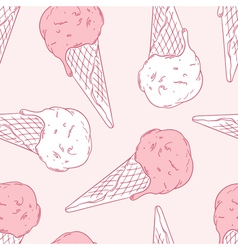 Hand drawn ice cream in a waffle cone Outline vector image