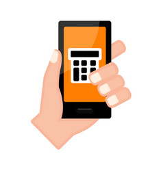 Hand holding a smartphone with a calculator app vector