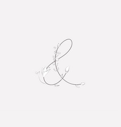 hand lettering floral ampersand monogram and logo vector image