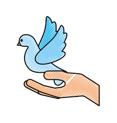 Hands human with cute dove flying icon vector