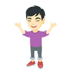 happy asian boy standing with raised hands vector image