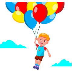happy child boy flying in the sky on balloons vector image