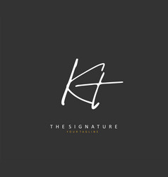 K t kt initial letter handwriting and signature vector