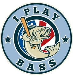 Largemouth bass playing baseball bat vector