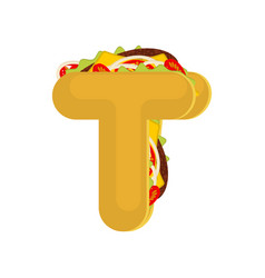 Letter t tacos mexican fast food font taco vector