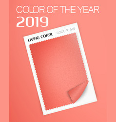 Living coral fabric sample vector