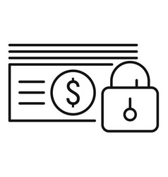 Lock money cash icon outline style vector