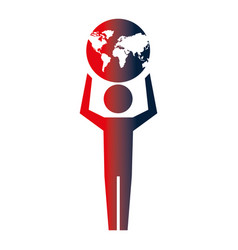 man pictogram holding world map vector image