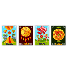 Maya civilization banners collection vector