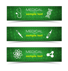 Medicine and pharmacy banners set vector