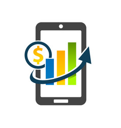 mobile phone with dollar graph chart icon vector image