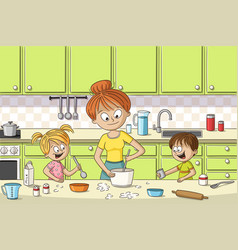 mother and children are cooking vector image
