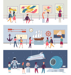 Museum and art gallery set art culture vector